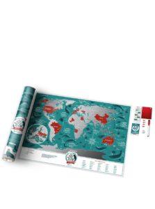 Stieracia mapa sveta v tyrkysovo-striebornej farbe Travel Map