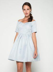 Svetlomodré šaty s odhalenými ramenami Chi Chi London Finola