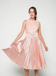 Ružové lesklé šaty s čipkovaným topom  Chi Chi London