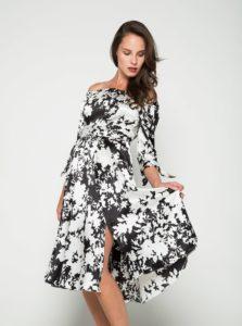 Čierno-krémové šaty s odhalenými ramenami Closet