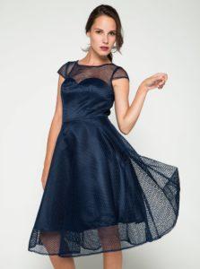 Tmavomodré šaty s tylovou spodničkou Chi Chi London