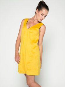Žlté voľné šaty v semišovej úprave VILA Then