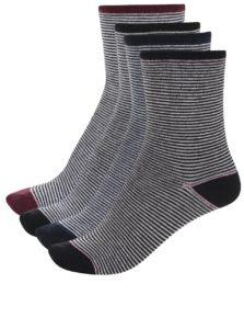 Súprava štyroch párov čierno-bielych pruhovaných ponožiek VERO MODA Glitter