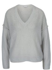 Sivý sveter s véčkovým výstrihom Noisy May Verona