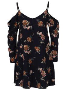 Tmavomodré voľné kvetované šaty s odhalenými ramenami AX Paris