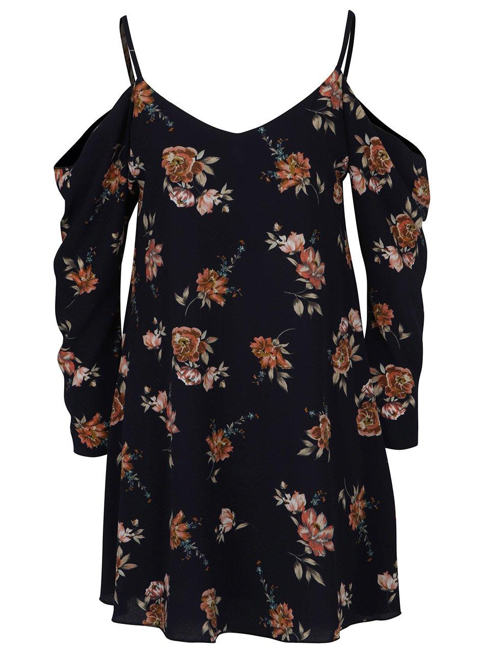 4dd1f93a9190 Tmavomodré voľné kvetované šaty s odhalenými ramenami AX Paris