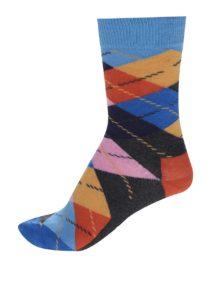 Sivo-modré unisex kárované ponožky Happy Socks Argyle