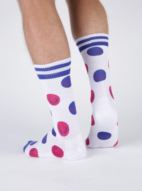Biele bodkované ponožky Happy Socks Athletic Smile