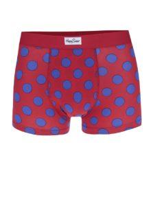 Modro-červené bodkované boxerky Happy Socks Big Dot