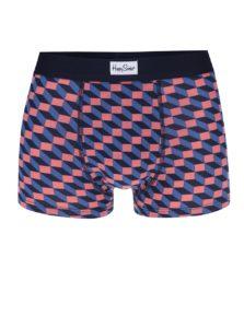 Oranžovo-modré vzorované boxerky Happy Socks Filled Optic