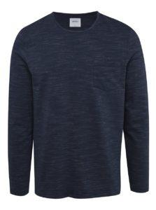 Tmavomodré melírované tričko s dlhým rukávom Burton Menswear London