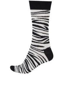 Krémovo-čierne zebrované ponožky Happy Socks Zebra