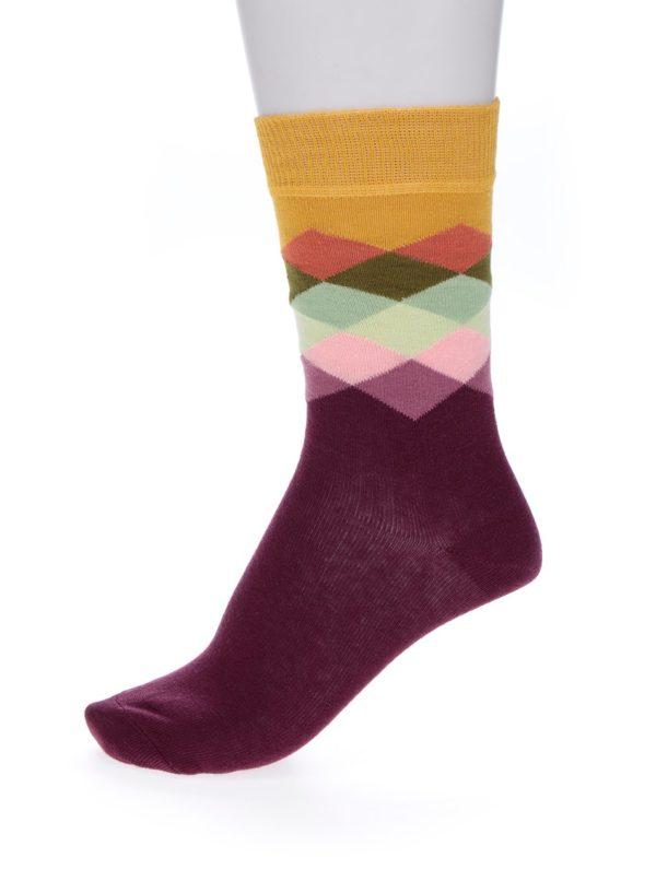 Žlto-vínové dámske vzorované ponožky Happy Socks Faded Diamond