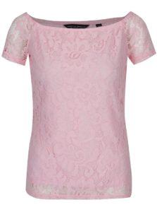 Svetloružové čipkované tričko Dorothy Perkins