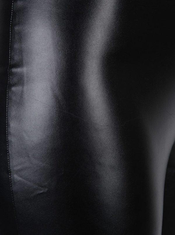 Čierne koženkové legíny Miss Selfridge