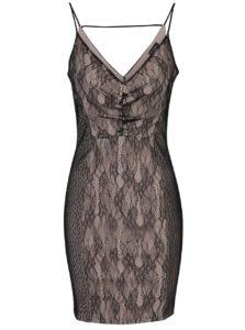 Béžovo-čierne čipkované šaty s tenkými ramienkami Miss Selfridge