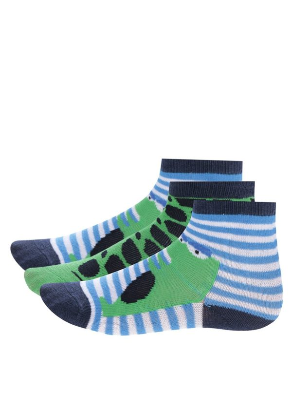 Súprava troch párov zeleno-modrých chlapčenských ponožiek s pruhmi a krokodílom 5.10.15.