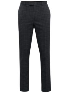 Tmavosivé kárované oblekové slim nohavice Burton Menswear London