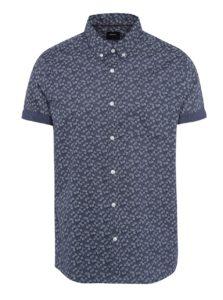 Tmavomodrá vzorovaná košeľa s krátkym rukávom Burton Menswear London