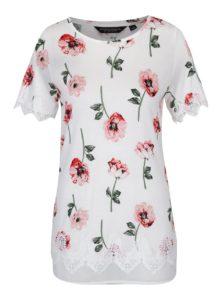 Krémové kvetované dlhé tričko s čipkovými detailmi Dorothy Perkins