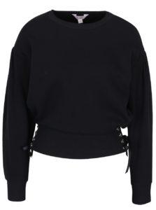 Čierna krátka mikina s ozdobným šnurovaním Miss Selfridge petites