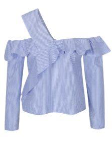 Modro-biela pruhovaná blúzka s volánmi Miss Selfridge Petites
