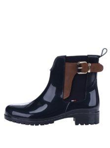 Tmavomodré dámske gumové chelsea topánky s koženými detailmi Tommy Hilfiger Oxley