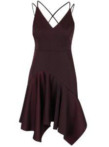 Hnedé asymetrické šaty so špagátovými ramienkami Miss Selfridge