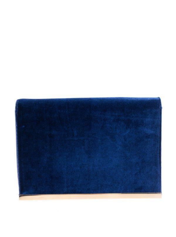 Modrá zamatová listová kabelka s trblietavými detailmi Dorothy Perkins