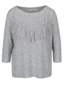 Sivý melírovaný voľný sveter s volánom ONLY Maye