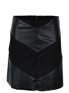 Čierna koženková sukňa s detailmi v semišovej úprave Jacqueline de Yong Kristina