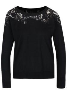 Čierny sveter s čipkovanými detailmi ONLY Maia