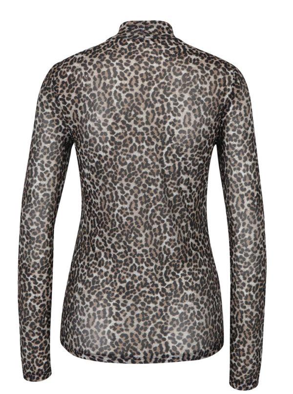 Čierno-béžové vzorované tričko so stojačikom a priesvitným zadným dielom ONLY Erica