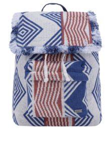 Modro–krémový vzorovaný látkový batoh Roxy Feeling