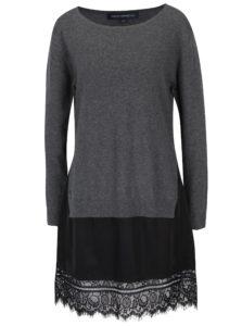 Sivé šaty s čipkovým lemom French Connection Melba
