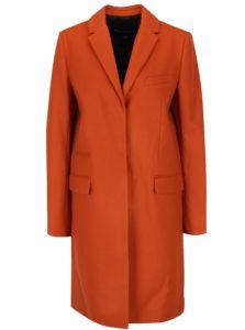 Oranžový vlnený kabát s prímesou kašmíru French Connection Platform