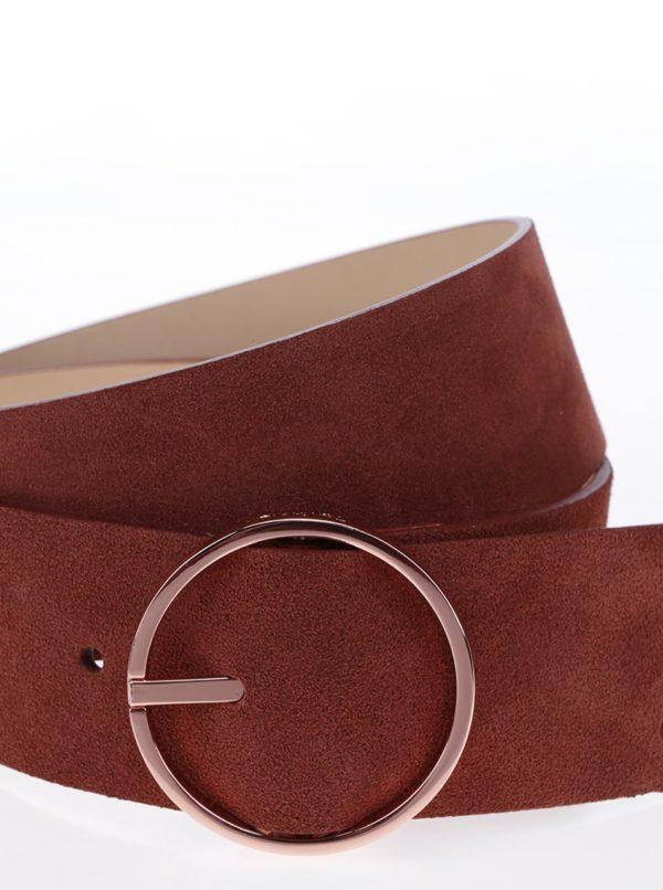 Tehlový dámsky semišový opasok Calvin Klein Waist