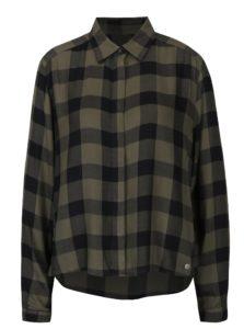 Kaki dámska voľná károvaná košeľa Garcia Jeans