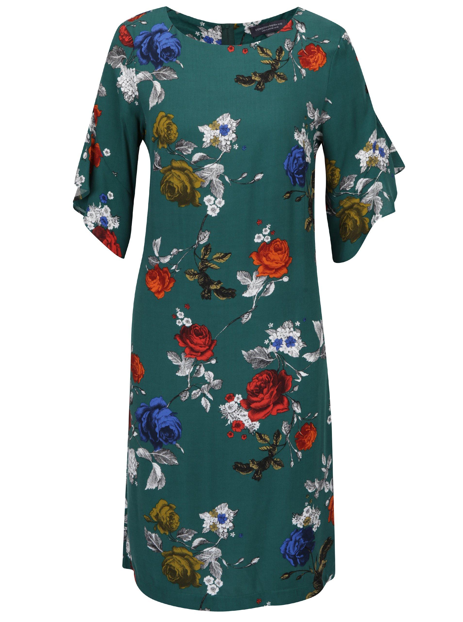 9718266abda5 Zelené rovné šaty s volánmi na rukávoch Dorothy Perkins Tall