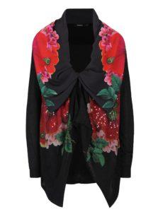 Červeno-čierny kvetovaný kardigán s flitrami Desigual Anna