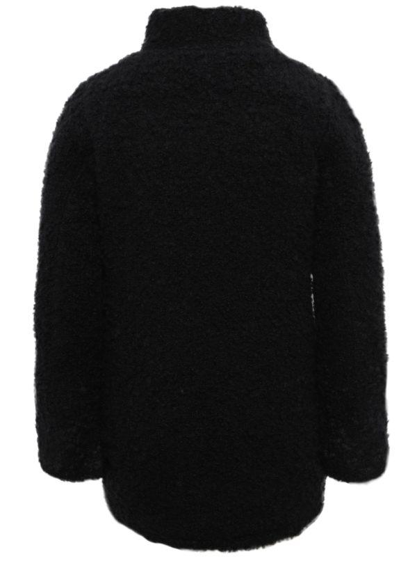 Čierny dievčenský kabát s vreckami Blue Seven