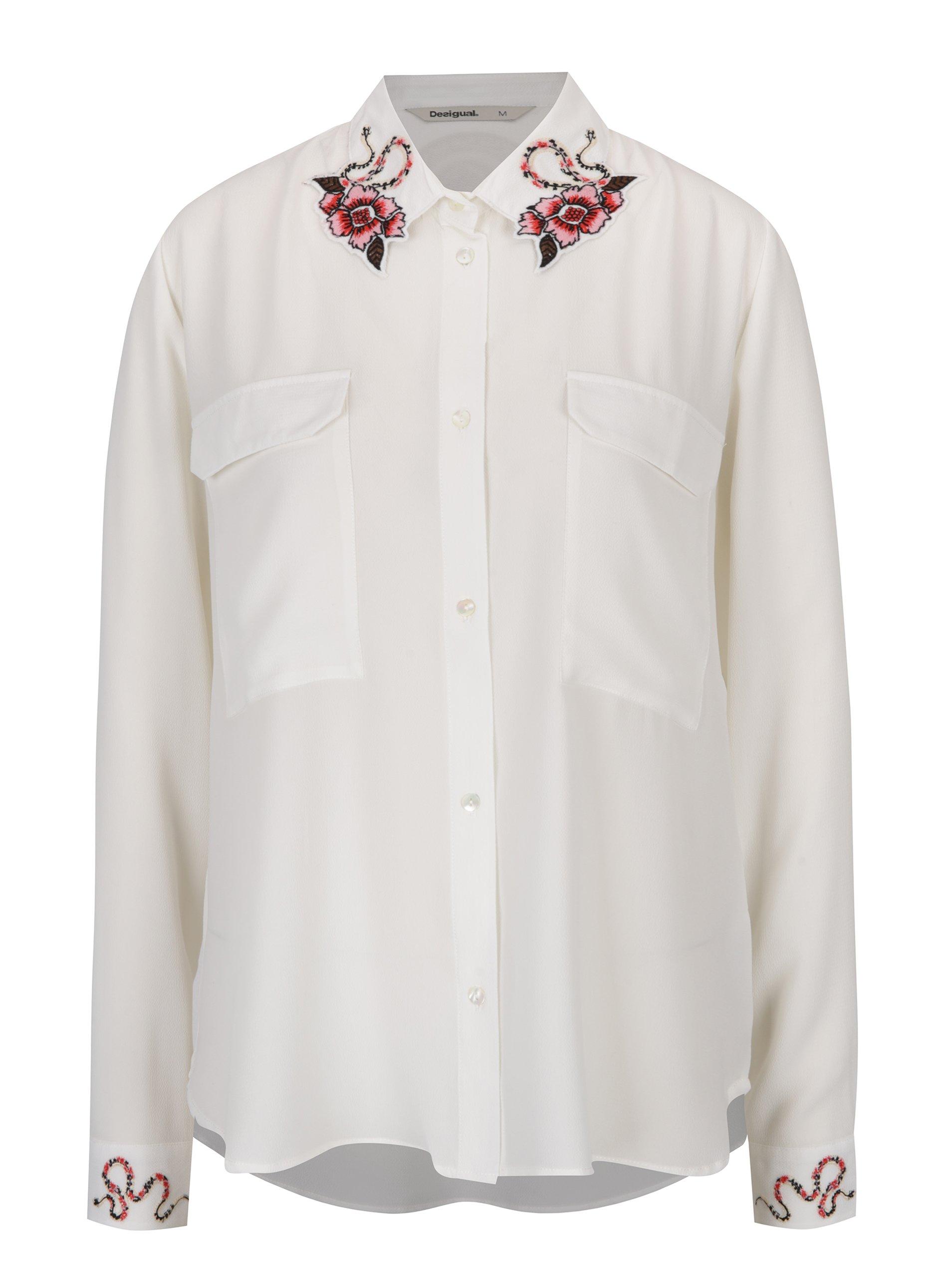 b701624f60fb Krémová košeľa s výšivkami na golieri a rukávoch Desigual Melancolia ...