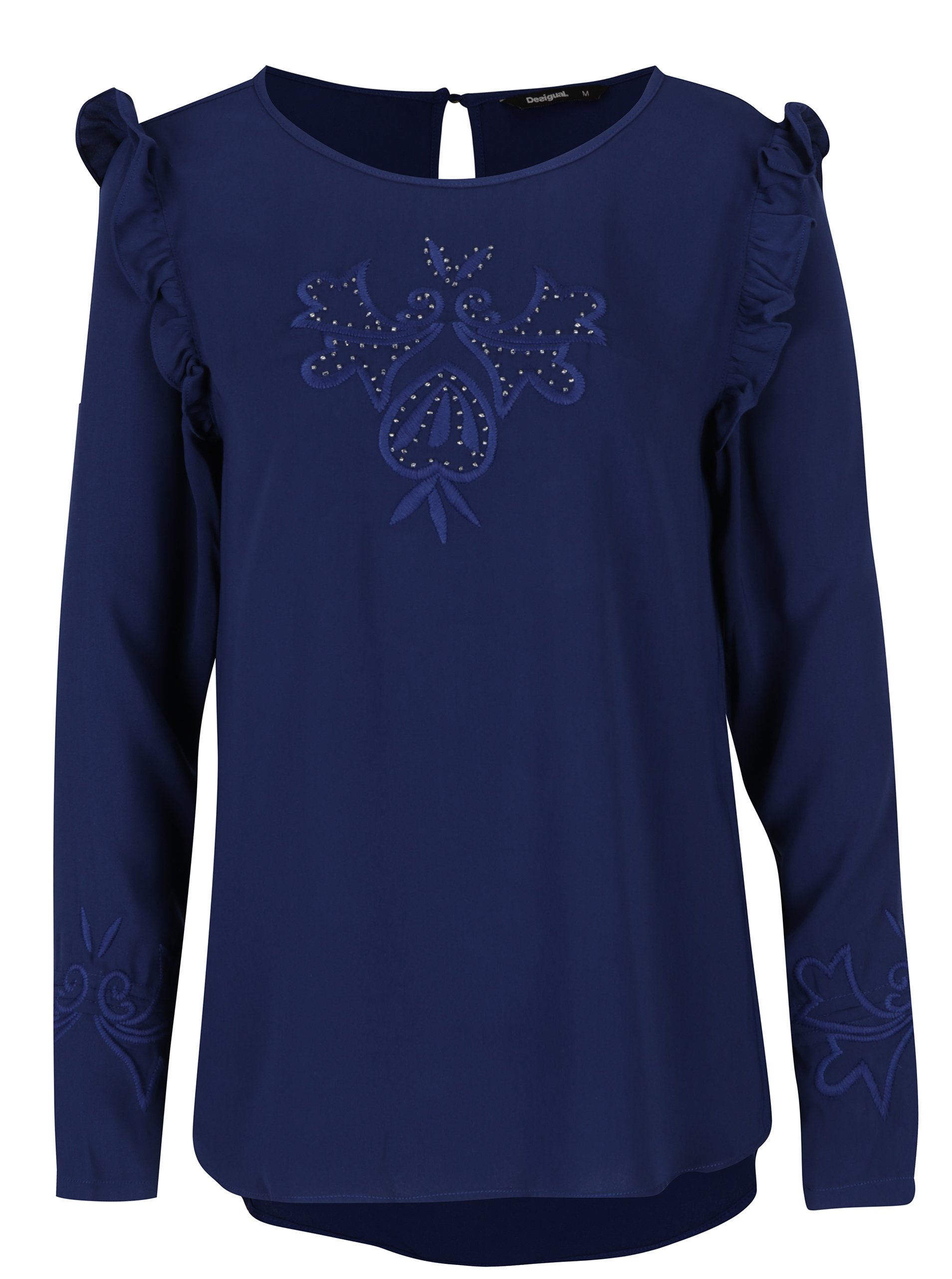 Modrá blúzka s výšivkami a volánmi Desigual Mimosa  70139dc377