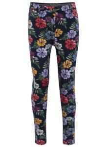 Tmavomodré dievčenské kvetované nohavice BÓBOLI