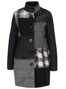 Sivo-čierny vzorovaný kabát s prímesou vlny Desigual Rosita