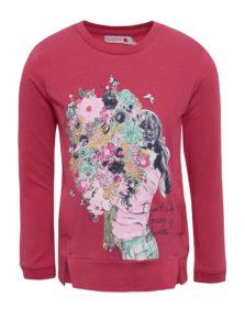 Ružová dievčenská mikina s potlačou a vreckami BÓBOLI