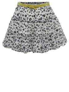 Krémová dievčenská tylová vzorovaná sukňa s opaskom a volánmi BÓBOLI