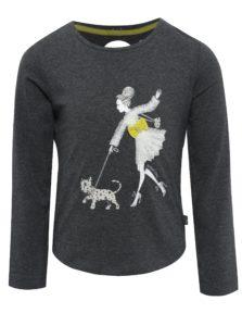 Tmavosivé dievčenské tričko s potlačou a prestrihom na chrbte BÓBOLI