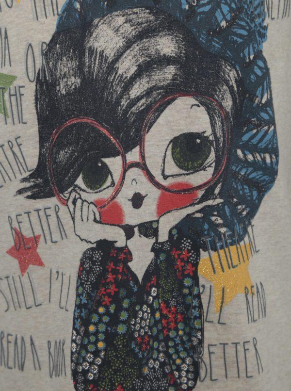 Béžové dievčenské tričko s potlačou a dlhým rukávom BÓBOLI
