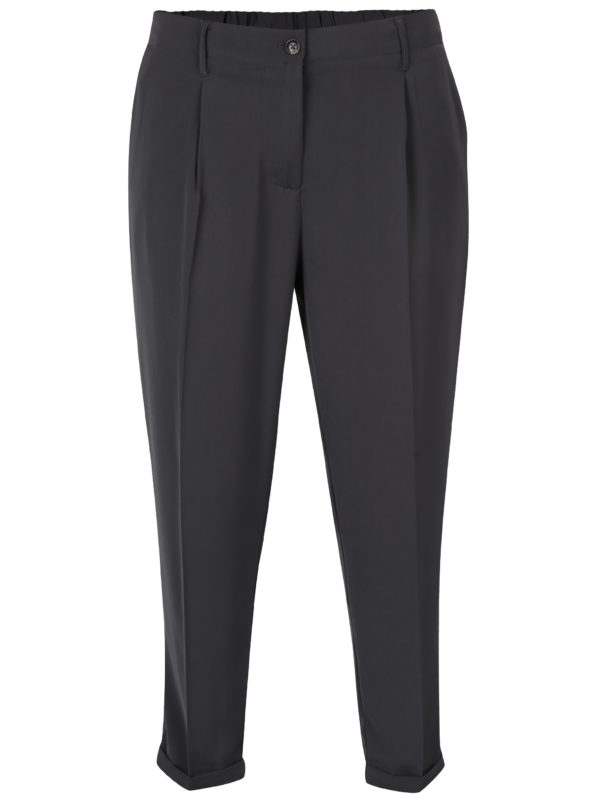 Tmavosivé dámske voľné skrátené nohavice s vysokým pásom Broadway Lilou